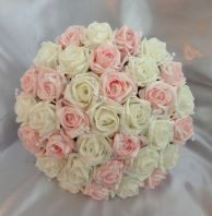 ARTIFICIAL WEDDING FLOWERS PINK/IVORY FOAM ROSE BRIDES WEDDING CRYSTAL BOUQUET